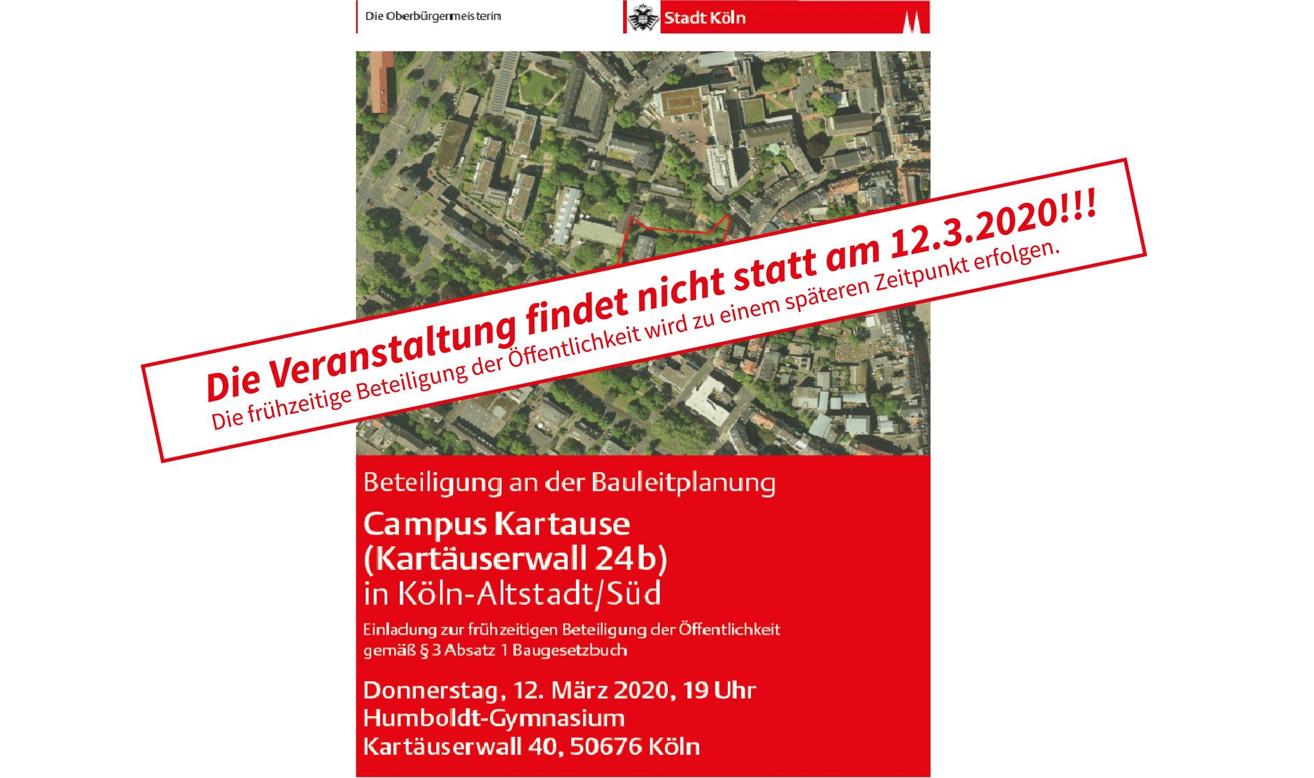 Veranstaltung am 12. März wird verschoben – Planungsdezernat der Stadt Köln folgt Empfehlung des Gesundheitsamtes